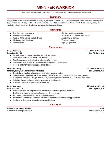 best legal secretary resume example livecareer