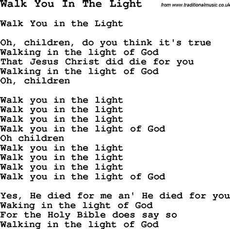 songs with light negro spiritual song lyrics for walk you in the light