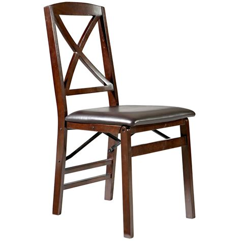 folding chairs linon triena x back wood folding chair w upholstered