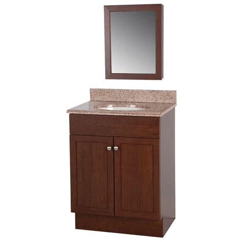 glacier bay 24 in w wrap vanity in auburn with vanity top in and medicine cabinet wr24p4