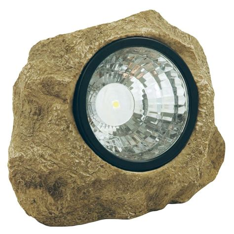 landscape lights home depot moonrays solar powered led poly resin outdoor rock