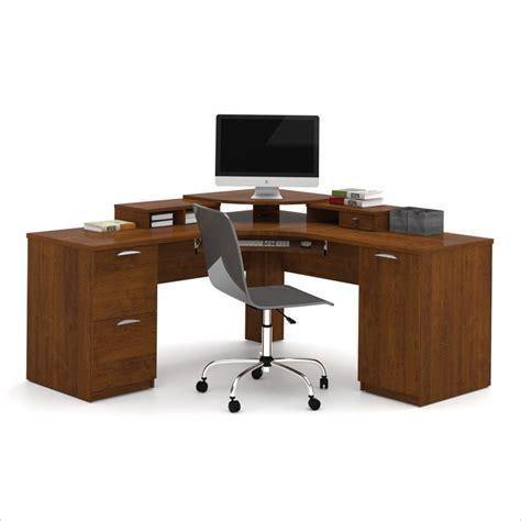 corner computer desk for home bestar elite home office corner wood tuscany brown