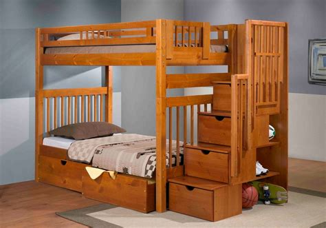 bunk beds with stairs staircase bunk bed pecan mattress superstore