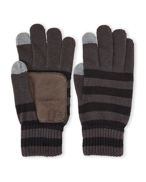 knit gloves original penguin striped knit touch gloves in brown for