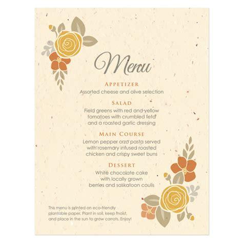 how to make menu card floral wreath seasons menu card plantable seed wedding