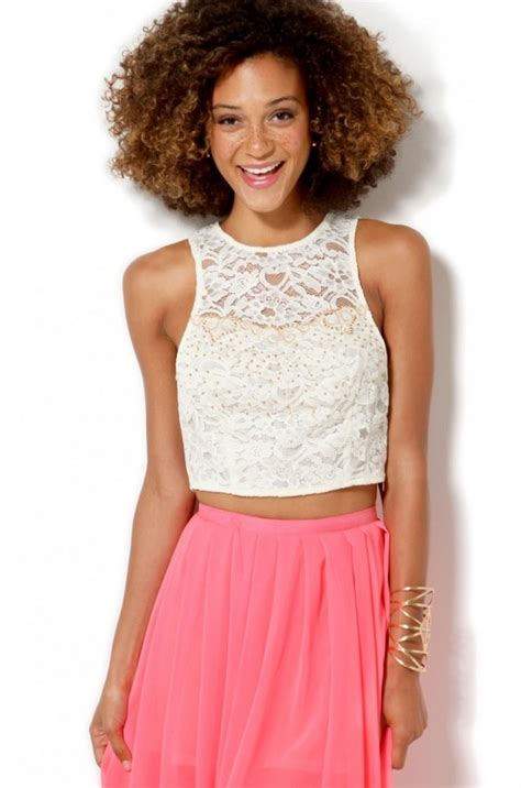 white beaded crop top beaded lace chiffon crop top in white