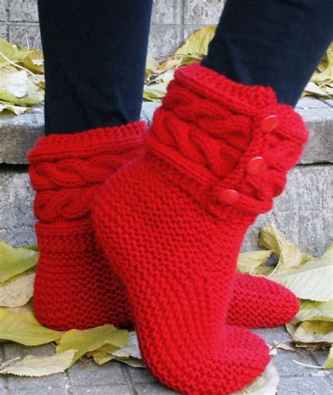 knitting pattern for boot socks free knitting pattern for cable cuff boot style slippers