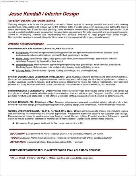 interior design resume templates interior design resume templates free sles exles