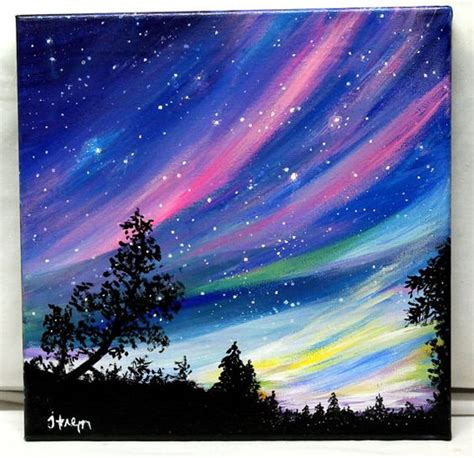 acrylic painting to light or light to reserved northern lights original acrylic by