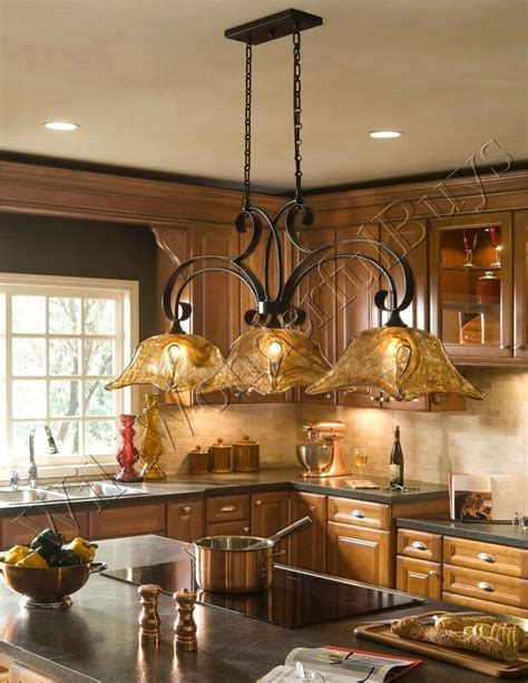 island kitchen lighting fixtures 3 light chandelier kitchen island pendant iron glass country tulip new ebay