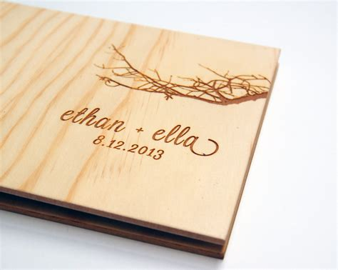 guest book picture wedding guest book album custom wood engagement by lorgie