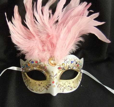 flower mask pretty gold jewelled pink feathered flower mask