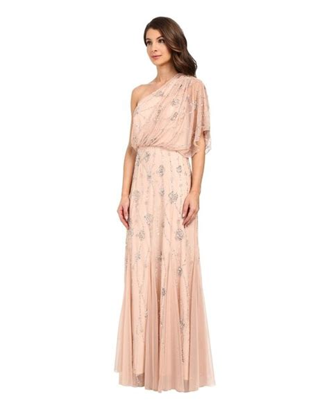 one shoulder beaded blouson gown papell one shoulder beaded blouson dress in pink
