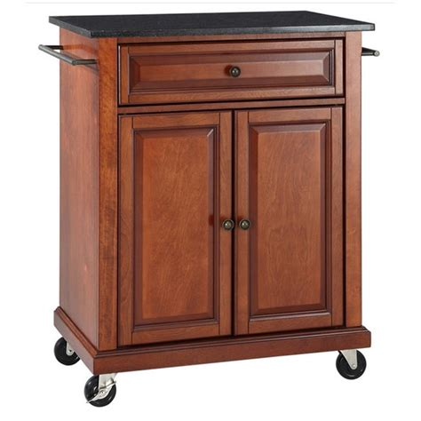 cherry kitchen island cart crosley furniture black granite top classic cherry kitchen cart kf30024ech