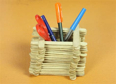 craft made from paper how to make pen stand with popsicle sticks