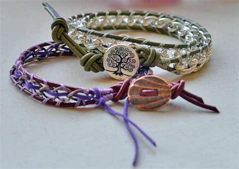 make leather jewelry how to make a lashed chain leather bracelet rings and
