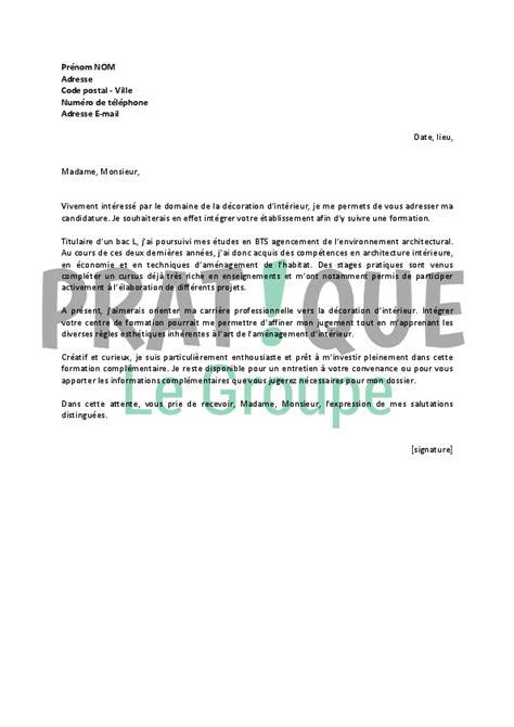 lettre de motivation pour un emploi de formation de d 233 corateur d int 233 rieur pratique fr