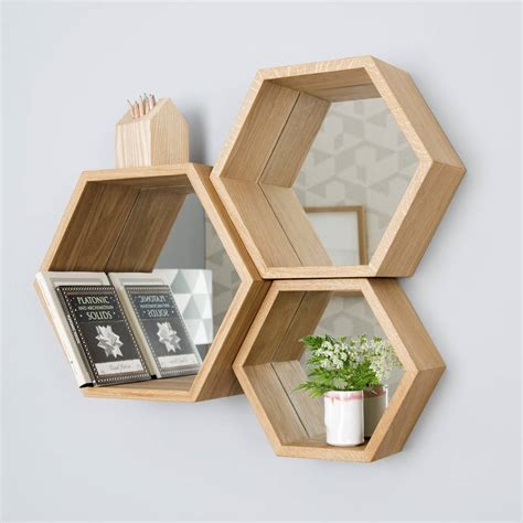 hexagon bookshelves hexagon mirror shelves by design