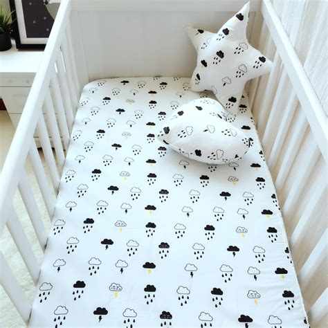crib bed sheets 6 color nordic ctotton cloud cat swan pattern baby crib