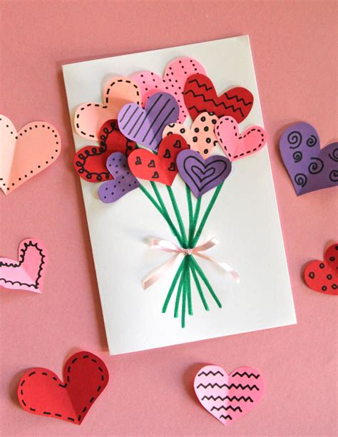 easy cards for children to make bouquet of hearts card for s day cards