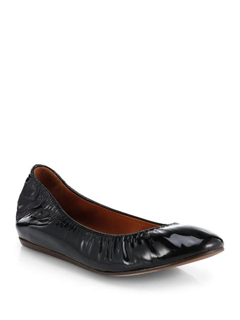 patent leather ballet flats lanvin patent leather ballet flats in black lyst