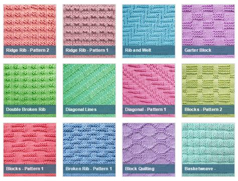 list of knitting stitches with pictures list of free stitch patterns using only knit and purl