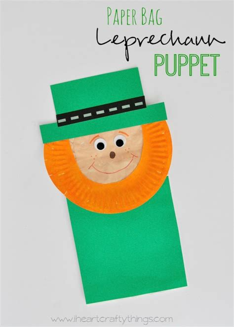 paper bag puppet craft paper bag leprechaun puppet craft i crafty things
