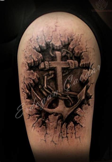 3d armor anchor tattoo on biceps