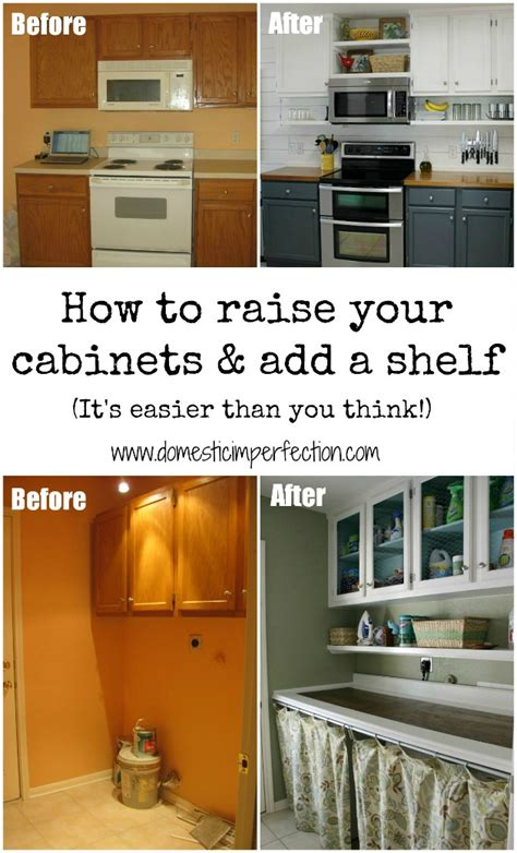 add shelves to cabinets adding height to cabinets