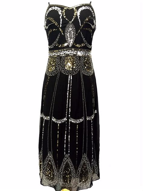 beaded dress black vintage 1920s flapper gatsby downton fringe