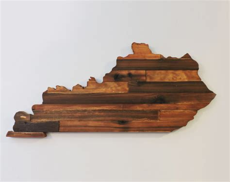 Kentucky Rustic Wood State Cut Out Wooden Kentucky State