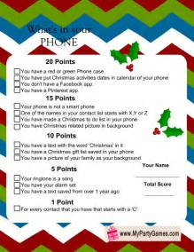 what s in you phone free printable christmas game