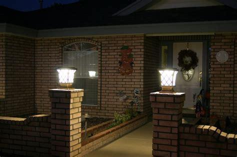 solar column lights outdoor solar power fence post pillar column light lighted