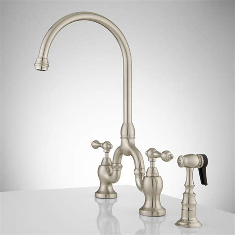 bridge style kitchen faucets unlacquered brass wall mount kitchen faucet