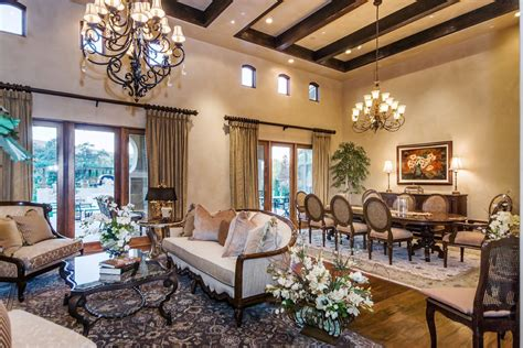 livingroom diningroom combo rustic coffee bar dining room mediterranean with louis xvi chairs open plan stotler design