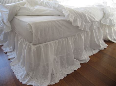 bed dust ruffle lace bed skirt bedskirt white eyelet lace cotton dust ruffle