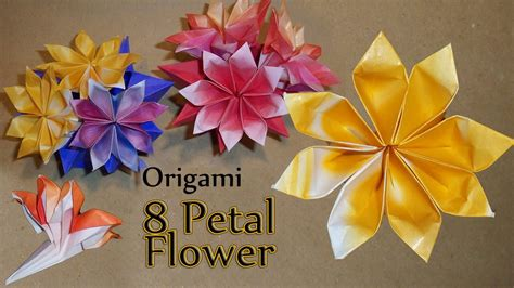 how to make from petals origami 8 petal flower