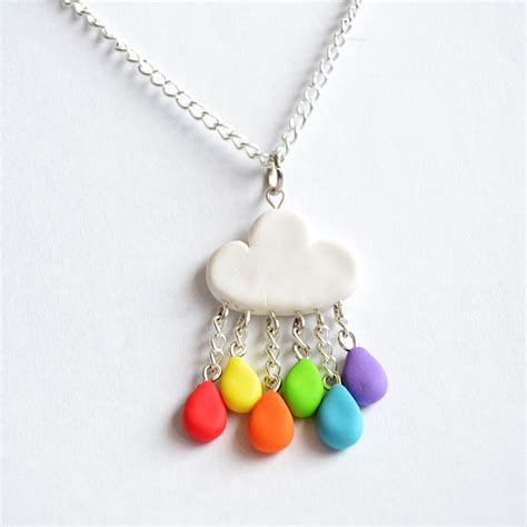 clay jewelry ideas polymer clay rainbow cloud necklace by linnypig
