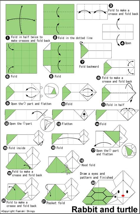 origami turtle diagram origami rabbit and turtle easy origami for