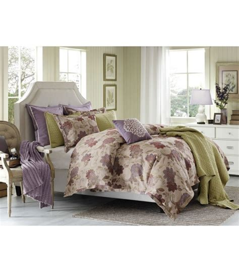 purple and green comforter set mauve purple green floral comforter set king