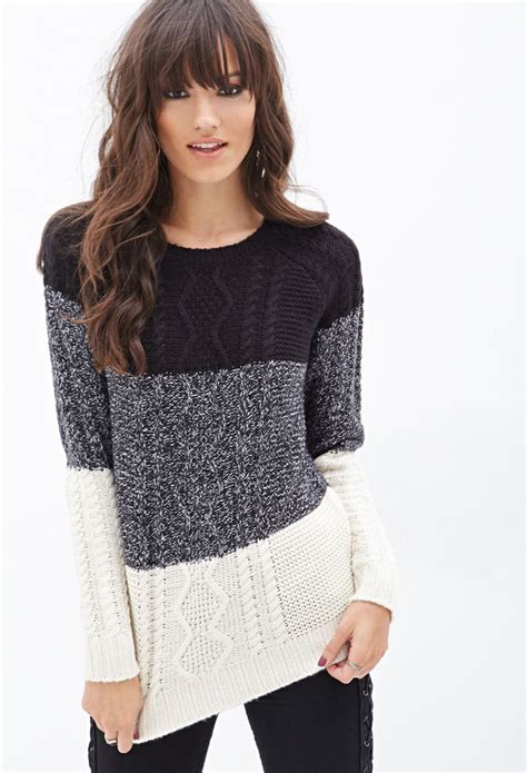 knitted sweaters forever 21 forever 21 colorblocked cable knit sweater in black lyst