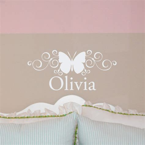 name stickers for wall scroll butterfly custom name monogram wall decal sticker