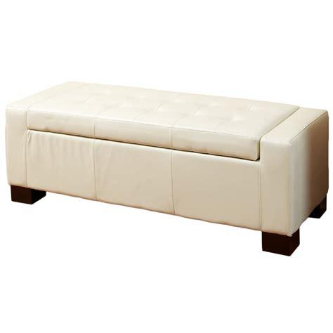 white leather storage ottoman bench best selling home decor guernsey white leather storage