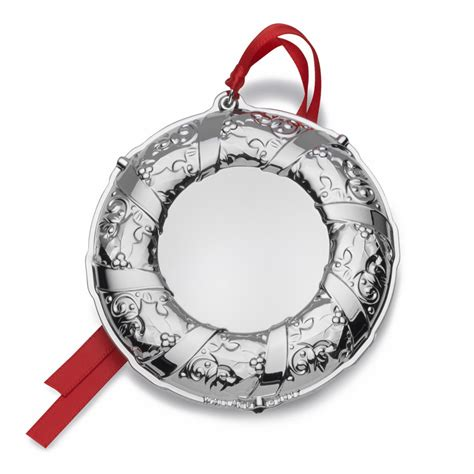 personalized silver ornaments wallace silver engravable ornament wreath 2017