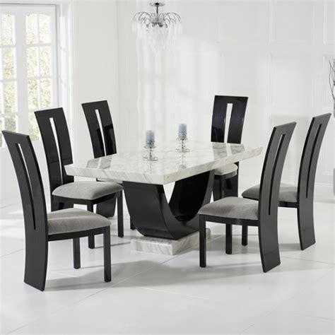 marble dining room table set marble dining table in with 6 ophelia grey