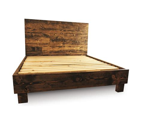 rustic wood platform bed frame and headboard by pereidarice