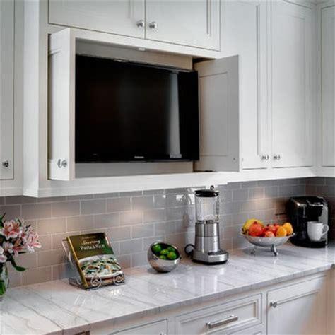 tv in kitchen ideas cabinet that hides appliances favorite kitchens