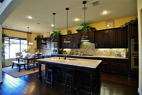 Dark Kitchen Cabinet Ideas delightful dark kitchen design with yellow wall color and