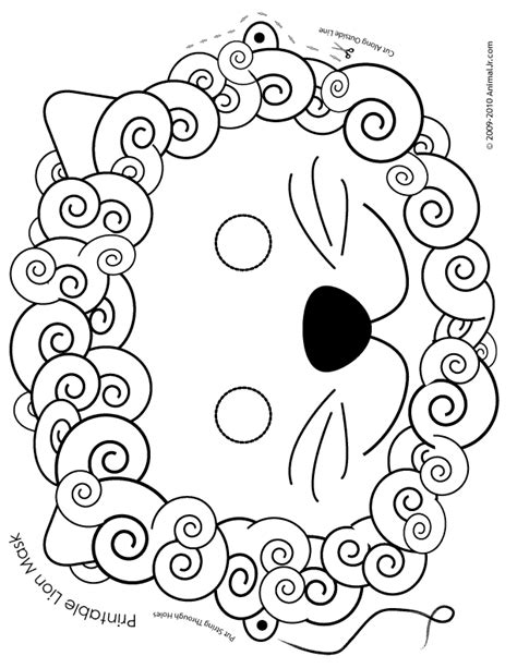 printable lion mask coloring page woo jr kids activities