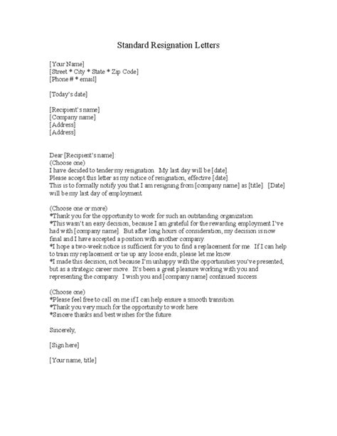 Free Cover Letter Samples standard resignation letter template free download